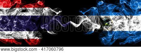 Thailand, Thai Vs Nicaragua, Nicaraguan Smoky Mystic Flags Placed Side By Side. Thick Colored Silky