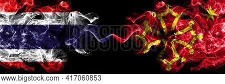 Thailand, Thai Vs Occitania Smoky Mystic Flags Placed Side By Side. Thick Colored Silky Abstract Smo