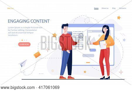 Process Of Creating Engaging Content. Communication With Subscribers. Content Management. Flat Abstr