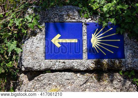 Camino De Santiago Sign Tiles On Rock On Outdoor. Way Of St. James Pilgrimage To Santiago De Compost