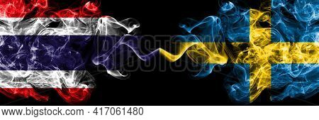 Thailand, Thai Vs Sweden, Swedish Swede Smoky Mystic Flags Placed Side By Side. Thick Colored Silky