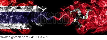 Thailand, Thai Vs United Kingdom, Great Britain, British, Isle Of Mann  Smoky Mystic Flags Placed Si