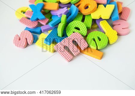 Multicolored Letters. Letters For The Study Of Children In Kindergarten Or School, Fluted Letters, T