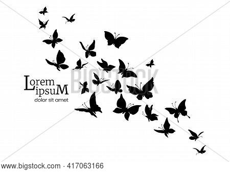 Decorative Flock Of Butterflies. Logo Design Template. Silhouettes Of Flying Butterflies.