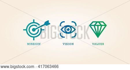 Mission Vision And Values Icon Design Vector