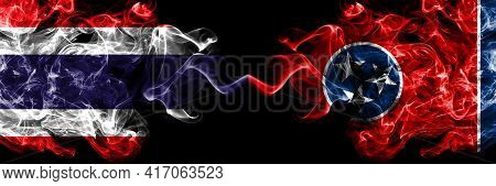 Thailand, Thai Vs United States Of America, America, Us, Usa, American, Tennessee Smoky Mystic Flags