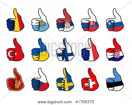 like symbol with flag of europe countries