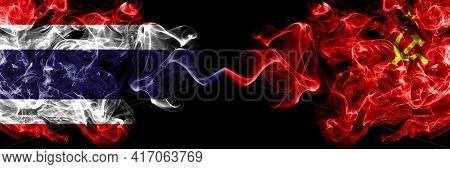 Thailand, Thai Vs Ussr, Soviet, Russia, Russian, Communism Smoky Mystic Flags Placed Side By Side. T
