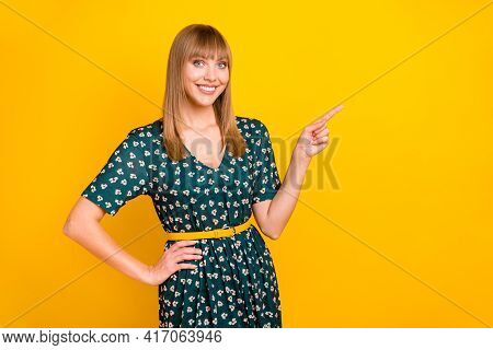 Photo Of Young Girl Happy Smile Point Finger Empty Space Advert Promo Choice Recommend Isolated Over