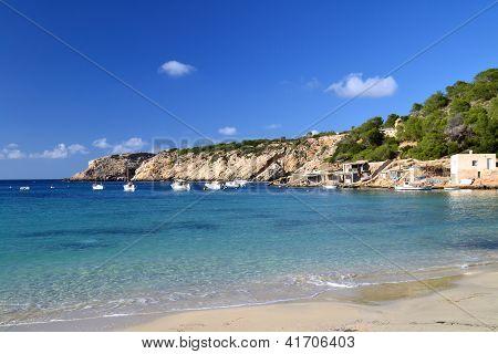 Cala Vadella beach in Ibiza, Spain