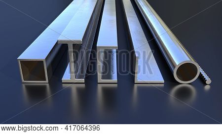 Vary Rolled Metal On The Floor, Industrial 3d Illustration