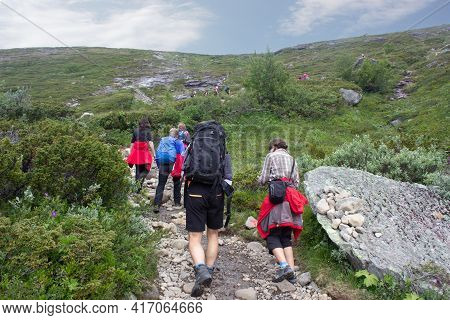 Besseggen, Norway- August,2018. People Hike At Besseggen Trail In Jotunheimen National Park