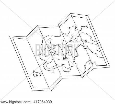 The Map Is Half-turned. A Peninsula With Islets, Roads And Cities. Contour Isolated Doodle Objects O