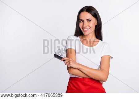 Photo Of Optimistic Brunette Long Hairdo Lady With Brush Near Empty Space Wear T-shirt Apron Isolate