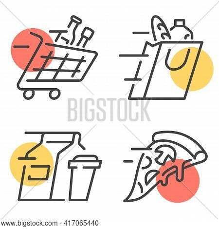 Set Of Simple Linear Vector Illustrations Representing Concept Of Convenient Food Delivery Service.