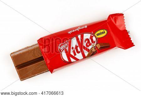 Lviv, Ukraine - April 08, 2021: Kitkat Mini Chocolate Bar In A Wrapper On A White Background