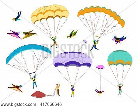 Collection Of Parachutists And Skydivers Isolated On White Background. Extreme Parachuting And Skydi
