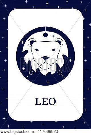 Leo Card Icon. Fifth Fire Sign In Zodiac.lion Birth Symbol.mystic Horoscope Sign Template. Flyer, Ma