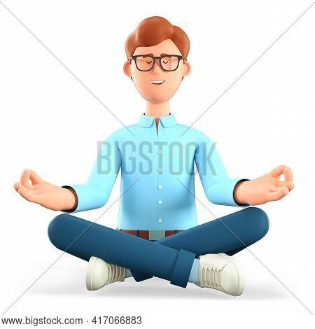 3d Illustration Of Meditating Man Sitting On The Floor In Yoga Lotus Position. Cute Cartoon Relaxing