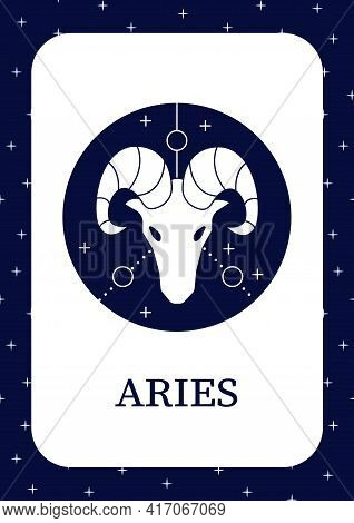 Aries Card Icon. Ram Symbol. First Fire Sign In Zodiac. Birth Symbol. Mystic Horoscope Sign Template
