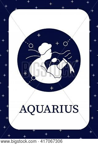 Aquarius Card Icon.eleventh Fire Sign In Zodiac. Horoscope Card Sign Template. Flyer, Magazine, Post
