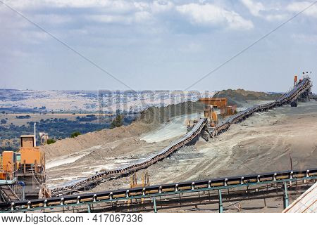 Conveyor For Sorting Rock And Raw Materials At A Mining Enterprise. Conveyor Designs At A Diamond Mi