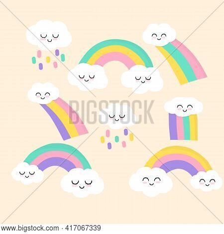 Rainbow With Cute Clouds - Cute Rainbow Decoration. Little Rainbow And Clouds. Cartoon Rainbow. Isol