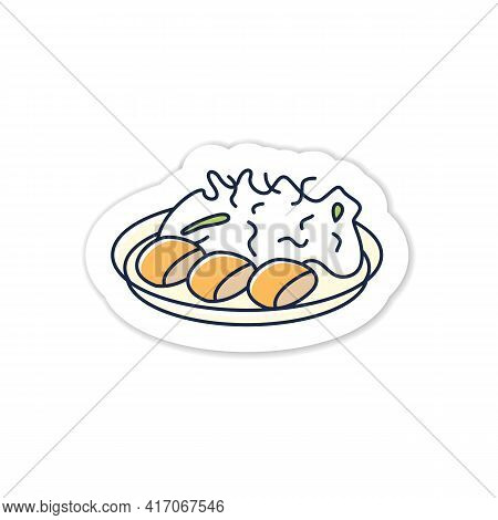Spring Cabbage Sticker Icon. Garnish To Meat On Plate.traditional Dish Badge For Designs. Japanese F