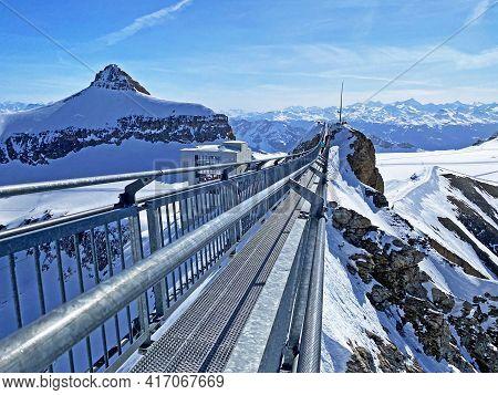 Peak Walk On The Suspension Bridge Between Two Mountain Peaks (travel Destination Glacier 3000) Or P