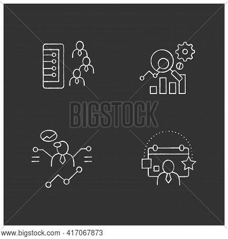 Customer Data Platform Chalk Icons Set. Client Database, Measurement Analytics, Predictions, Events.