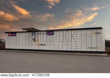 Poznan, Poland - April 11.2020: Electronic Locker, Automated Parcel Terminal (parcel Locker, Post Te