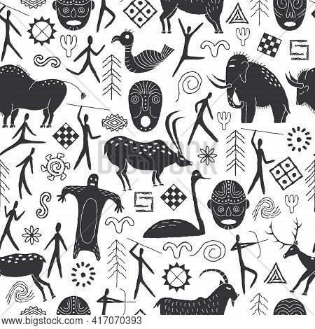 Seamless Pattern With Decorative Elements And Man From Rock Art. Prehistoric Drawings. Outline.
