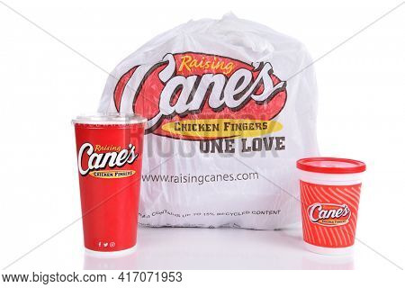 IRVINE, CALIFORNIA - AUGUST 22, 2017:  Raising Canes take out bag. Raising Canes ia a fast food restaurant chain specializing in Chicken Finger meals.