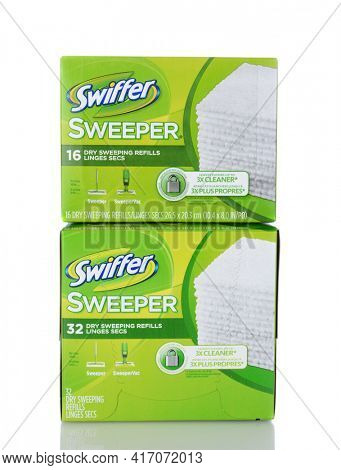 IRVINE, CA - January 05, 2014: Two boxes of Swiffer Dry Sweeping Refills. Swiffer is a line of cleaning products by Procter and Gamble and Michael Rand, introduced in 1999.