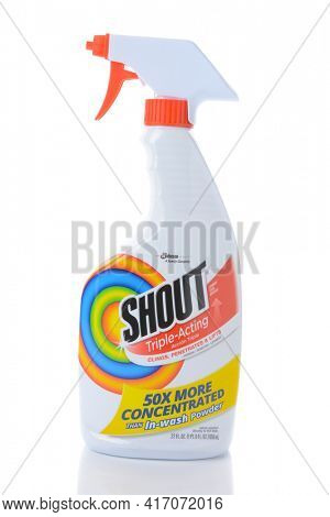 IRVINE, CA - AUGUST 15, 2016: A spray bottle of Shout Triple Acting Stain Remover. The laundry pre-wash is from SC Johnson.