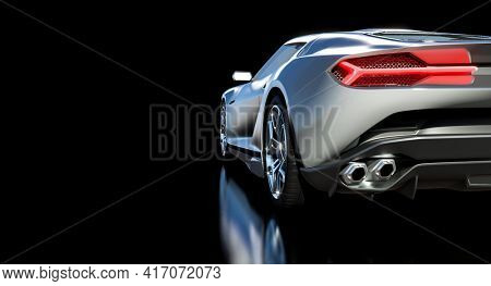 detail of a sports car seen from behind. 3d render.