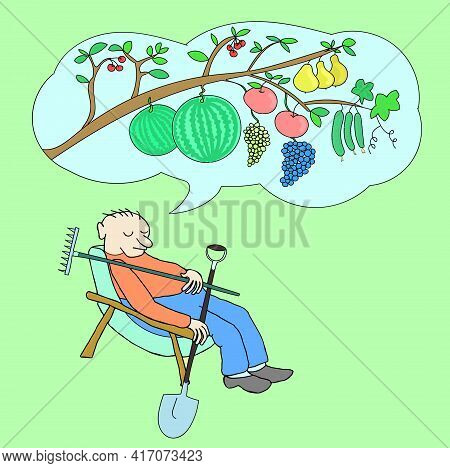Man Slumbers And Dream. Dreams Of A Wonderful Harvest. Illustration In Color