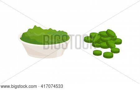 Spirulina As Dietary Supplement And Natural Food For Human Consumption Vector Set