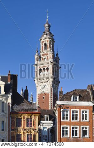 Belfry Of The Lille Chamber Of Commerce. It Is A Building Built At The Beginning Of The 20th Century