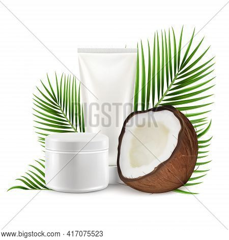 Coconut Cosmetics, Vector Illustration. Realistic Coco With Mockup Cream Tube, Palm Tree Leaves.