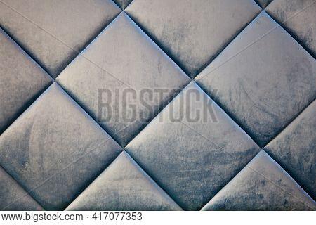 Blue Teal Velvet Textile Capotone Or Checkered Soft Tufted Backdrop. Textile Squares. Blue Velvet Li