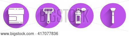 Set Cream Or Lotion Cosmetic Tube, Shaving Razor, Perfume And Makeup Brush Icon With Long Shadow. Ve