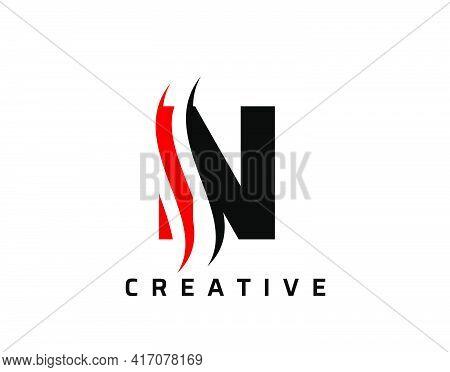 N Letter Swoosh Logo Design. Vector Lettering Illustration