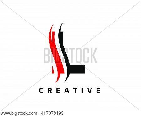 L Letter Swoosh Logo Design. Vector Lettering Illustration