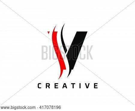 V Letter Swoosh Logo Design. Vector Lettering Illustration