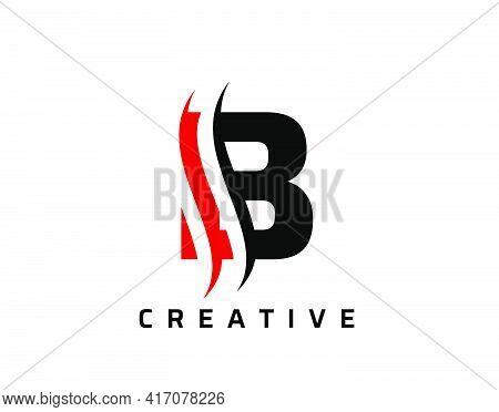 B Letter Swoosh Logo Design. Vector Lettering Illustration