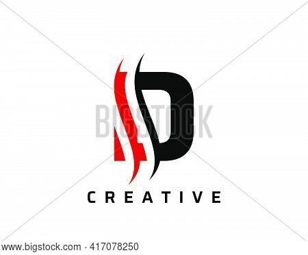 D Letter Swoosh Logo Design. Vector Lettering Illustration