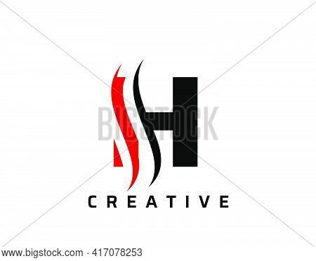 H Letter Swoosh Logo Design. Vector Lettering Illustration