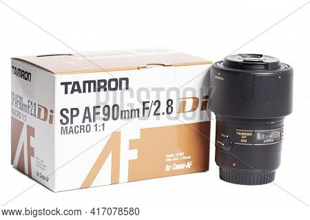 Moscow, Russia April 15, 2021 Tamron Sp Af 90mm F 2.8 Camera Photo Lens With Box