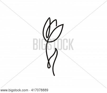 Tulip Continuous Line Drawing Art. Minimalist Tulip Icon Line Design.